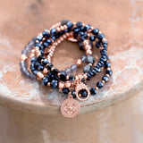 Set of 5 Copper Tone Multicharm Fashion Stretch Bracelets