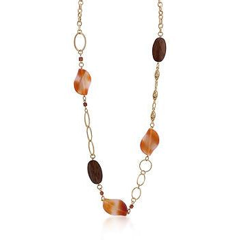 Gold Chain Necklace With Warm Colored Stones - Charmed Costumes