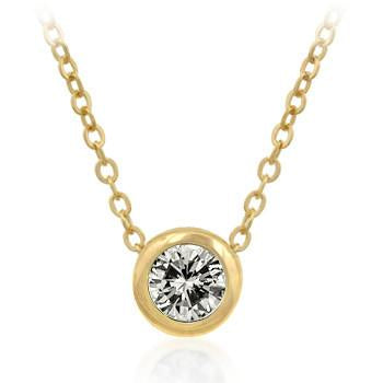 Solitaire Bezel Cubic Zirconia Golden Pendant Necklace - Charmed Costumes