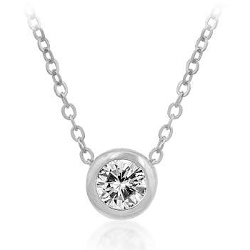 Solitaire Bezel Cubic Zirconia Pendant Necklace - Charmed Costumes