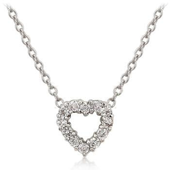 Cubic Zirconia Heart Silhouette Pendant Necklace - Charmed Costumes
