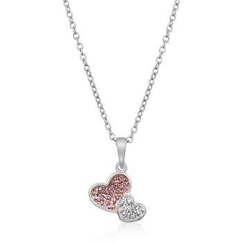 Two Hearts Pave Pendant Necklace - Charmed Costumes
