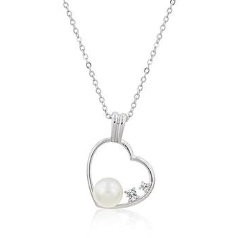 Pearl Cubic Zirconia Heart Pendant - Charmed Costumes
