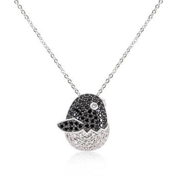 Black and White Cubic Zirconia Baby Bird Pendant - Charmed Costumes