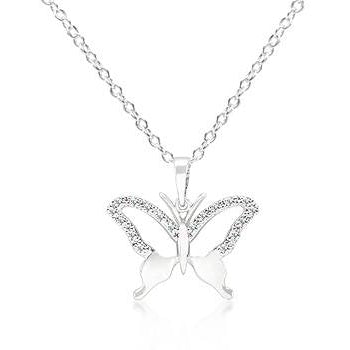 Cubic Zirconia Butterfly Pendant Necklace - Charmed Costumes
