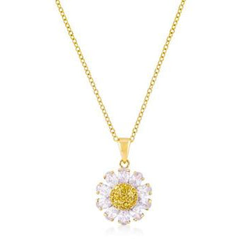 Goldtone Purple and Yellow Cubic Zirconia Floral Pendant - Charmed Costumes