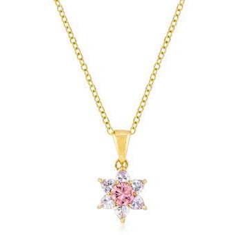 Goldtone Pink Cubic Zirconia Starburst Pendant Necklace - Charmed Costumes