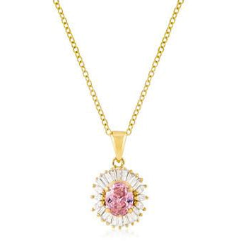 Goldtone Pink CZ Oval Halo Pendant Necklace - Charmed Costumes
