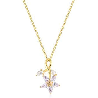 Purple Flower Drop Pendant Necklace - Charmed Costumes