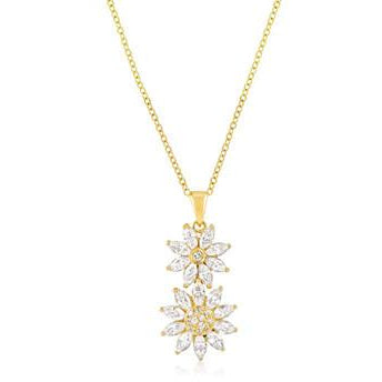 Goldtone Dual Floral Pendant Necklace - Charmed Costumes
