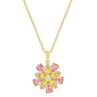 Goldtone Multi-Floral Pendant Necklace - Charmed Costumes