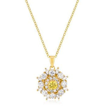 Goldtone CZ Circle Pendant Necklace - Charmed Costumes