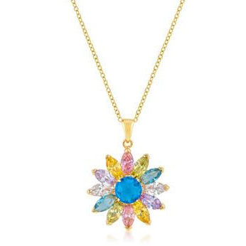 Goldtone Colorful Flower Pendant - Charmed Costumes