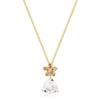 Goldtone Trillion Floral Pendant Necklace - Charmed Costumes