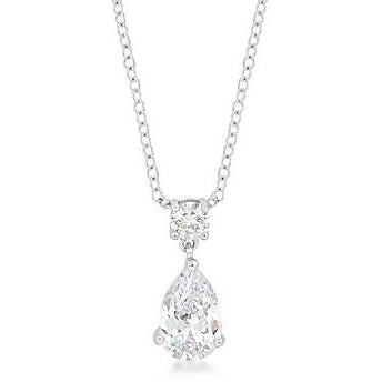 Chandelier Pear Cubic Zirconia Pendant Necklace - Charmed Costumes