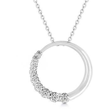 Graduated Cubic Zirconia Circle Pendant Necklace - Charmed Costumes
