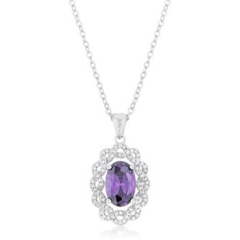 Amethyst Oval Drop Necklace - Charmed Costumes