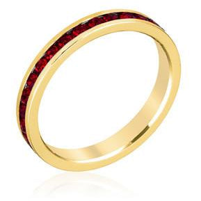 Stylish Stackables with Garnet in Gold Crystal Ring - Charmed Costumes