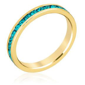 Stylish Stackables Turquoise Crystal Gold Ring - Charmed Costumes
