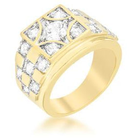 Checkerboard Cubic Zirconia Men's Ring - Charmed Costumes