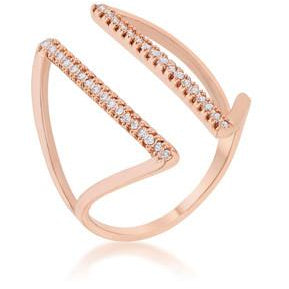Jena CZ Rose Gold Delicate Parallel Ring