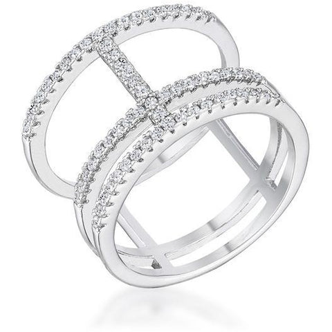0.5Ct Rhodium Parallel Ring with Brilliant CZ