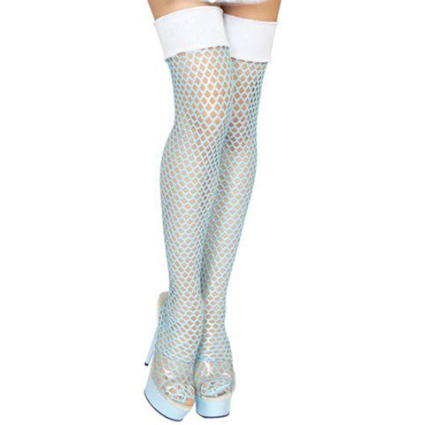 Blue Ice Queen Fishnet Stockings - Charmed Costumes