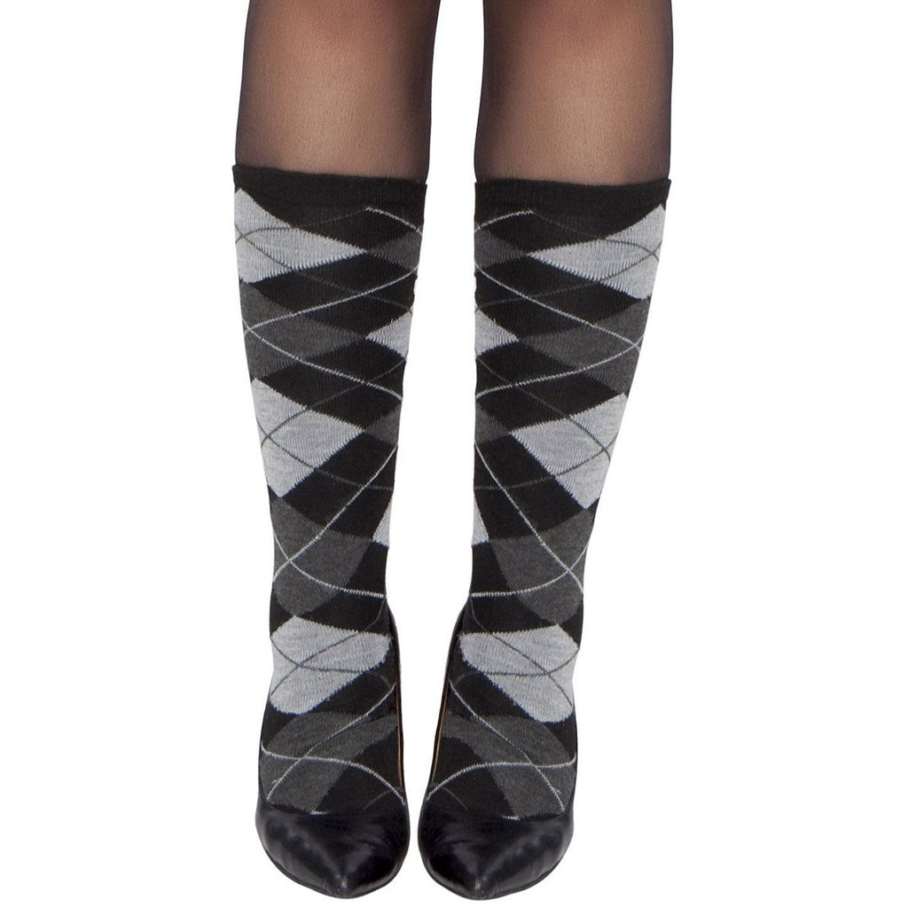 Grey Argyle Stockings - Charmed Costumes