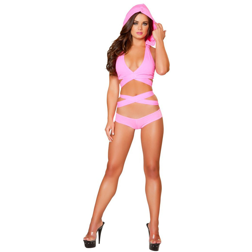 Pink Detachable Hooded Wrap Around Halter Top - Charmed Costumes