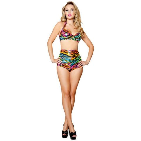 Rainbow Zebra Halter Top - Charmed Costumes