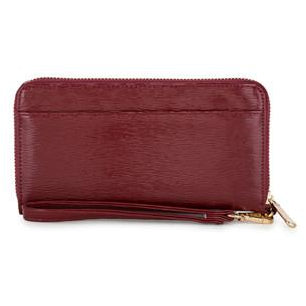 Kate Burgundy Faux Textured Leather Clutch - Charmed Costumes - 1