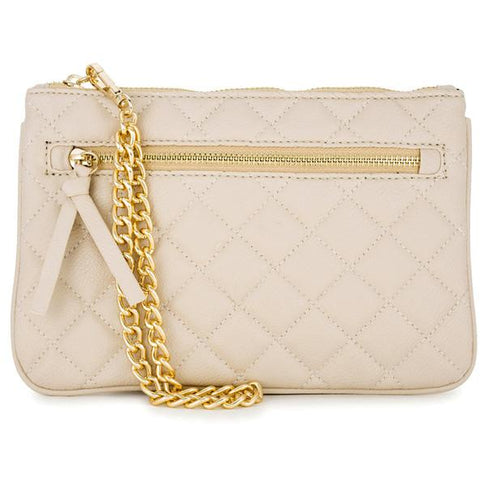 Alexis Beige Quilted Faux Leather Clutch With Gold Chain Wristlet - Charmed Costumes
