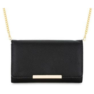 Laney Black Pebbled Faux Leather Clutch With Gold Chain Strap - Charmed Costumes