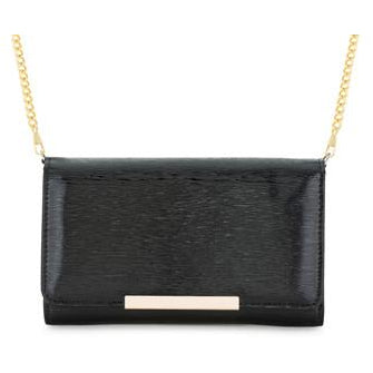 Laney Black Textured Faux Leather Clutch With Gold Chain Strap - Charmed Costumes - 1