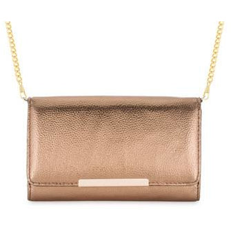 Laney Bronze Metallic Pebbled Faux Leather Clutch With Gold Chain Strap - Charmed Costumes - 1
