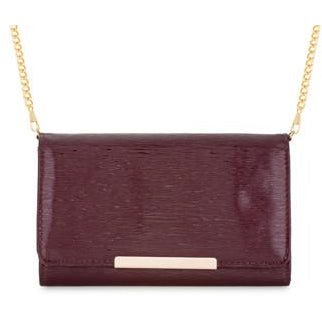 Laney Burgundy Textured Faux Leather Clutch With Gold Chain Strap - Charmed Costumes - 1