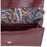 Laney Burgundy Textured Faux Leather Clutch With Gold Chain Strap - Charmed Costumes - 2