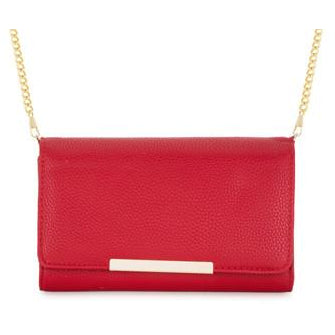 Laney Red Pebbled Faux Leather Clutch With Gold Chain Strap - Charmed Costumes - 1