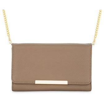 Laney Taupe Pebbled Faux Leather Clutch With Gold Chain Strap - Charmed Costumes - 1