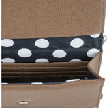 Laney Taupe Pebbled Faux Leather Clutch With Gold Chain Strap - Charmed Costumes - 2