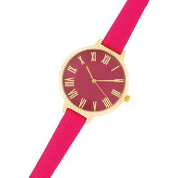 Gold Watch With Pink Leather Strap - Charmed Costumes
