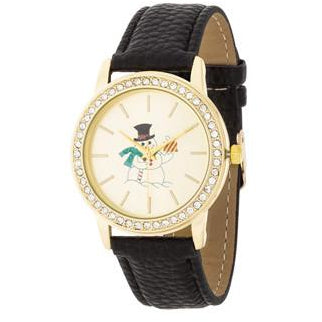 Gold Snowman Crystal Watch With Black Leather Strap - Charmed Costumes