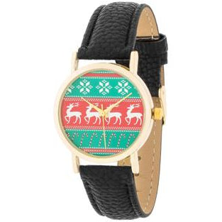 Gold Holiday Watch With Black Leather Strap - Charmed Costumes