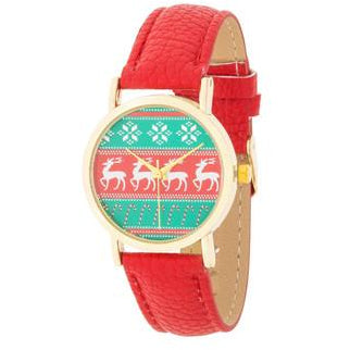 Gold Holiday Watch With Red Leather Strap - Charmed Costumes