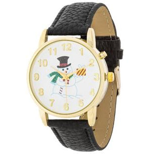 Gold Holiday Tune Watch With Black Leather Strap - Charmed Costumes
