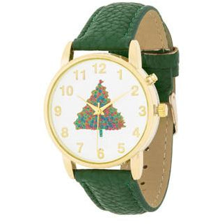 Gold Holiday Tune Watch With Green Leather Strap - Charmed Costumes