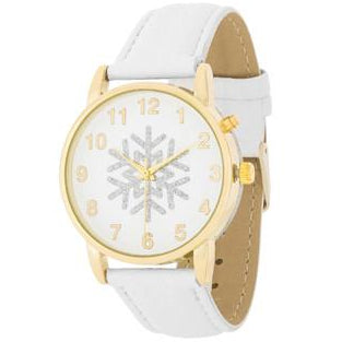 Gold Holiday Tune Watch With White Leather Strap - Charmed Costumes
