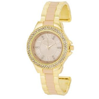 Gold Metal Cuff Watch With Crystals - Beige - Charmed Costumes