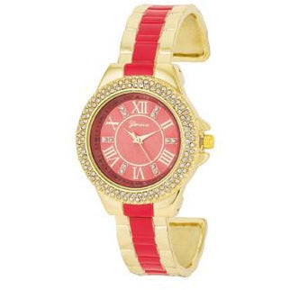 Gold Metal Cuff Watch With Crystals - Coral - Charmed Costumes