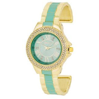 Gold Metal Cuff Watch With Crystals - Mint - Charmed Costumes